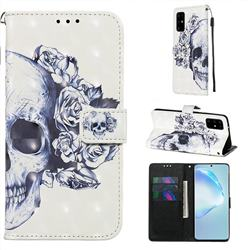Skull Flower 3D Painted Leather Wallet Case for Samsung Galaxy S20 Plus / S11