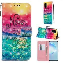 Colorful Dream Catcher 3D Painted Leather Wallet Case for Samsung Galaxy S20 Plus / S11