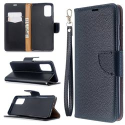 Classic Luxury Litchi Leather Phone Wallet Case for Samsung Galaxy S20 Plus / S11 - Black
