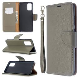 Classic Luxury Litchi Leather Phone Wallet Case for Samsung Galaxy S20 Plus / S11 - Gray