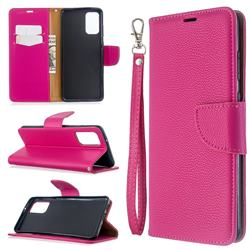 Classic Luxury Litchi Leather Phone Wallet Case for Samsung Galaxy S20 Plus / S11 - Rose