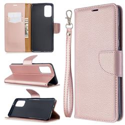 Classic Luxury Litchi Leather Phone Wallet Case for Samsung Galaxy S20 Plus / S11 - Golden