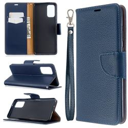 Classic Luxury Litchi Leather Phone Wallet Case for Samsung Galaxy S20 Plus / S11 - Blue