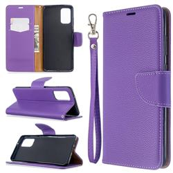 Classic Luxury Litchi Leather Phone Wallet Case for Samsung Galaxy S20 Plus / S11 - Purple