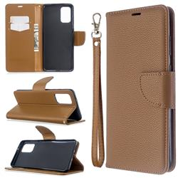 Classic Luxury Litchi Leather Phone Wallet Case for Samsung Galaxy S20 Plus / S11 - Brown