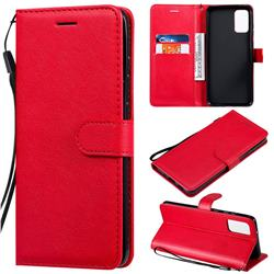 Retro Greek Classic Smooth PU Leather Wallet Phone Case for Samsung Galaxy S20 Plus / S11 - Red