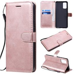 Retro Greek Classic Smooth PU Leather Wallet Phone Case for Samsung Galaxy S20 Plus / S11 - Rose Gold