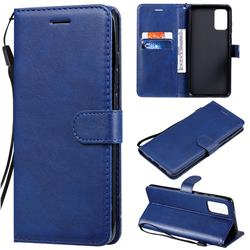 Retro Greek Classic Smooth PU Leather Wallet Phone Case for Samsung Galaxy S20 Plus / S11 - Blue