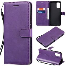 Retro Greek Classic Smooth PU Leather Wallet Phone Case for Samsung Galaxy S20 Plus / S11 - Purple