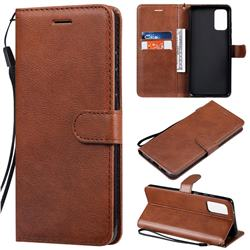 Retro Greek Classic Smooth PU Leather Wallet Phone Case for Samsung Galaxy S20 Plus / S11 - Brown