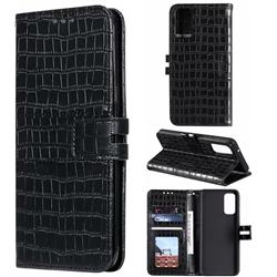 Luxury Crocodile Magnetic Leather Wallet Phone Case for Samsung Galaxy S20 Plus / S11 - Black