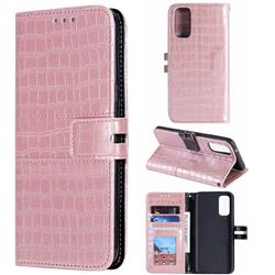 Luxury Crocodile Magnetic Leather Wallet Phone Case for Samsung Galaxy S20 Plus / S11 - Rose Gold
