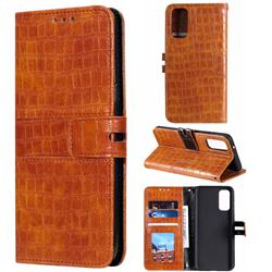 Luxury Crocodile Magnetic Leather Wallet Phone Case for Samsung Galaxy S20 Plus / S11 - Brown