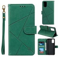 Embossing Geometric Leather Wallet Case for Samsung Galaxy S20 Plus / S11 - Green