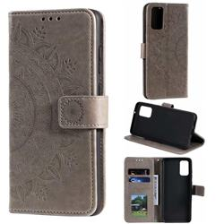 Intricate Embossing Datura Leather Wallet Case for Samsung Galaxy S20 Plus / S11 - Gray