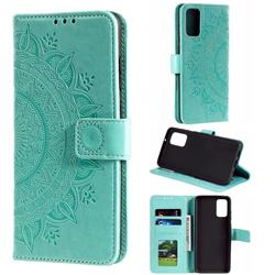 Intricate Embossing Datura Leather Wallet Case for Samsung Galaxy S20 Plus / S11 - Mint Green