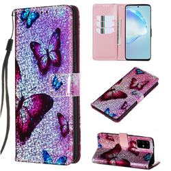 Blue Butterfly Sequins Painted Leather Wallet Case for Samsung Galaxy S20 Plus / S11
