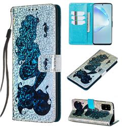 Mermaid Seahorse Sequins Painted Leather Wallet Case for Samsung Galaxy S20 Plus / S11