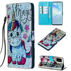 Star Unicorn Sequins Painted Leather Wallet Case for Samsung Galaxy S20 Plus / S11