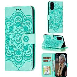 Intricate Embossing Datura Solar Leather Wallet Case for Samsung Galaxy S20 Plus / S11 - Green