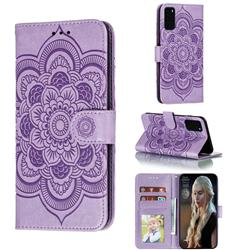 Intricate Embossing Datura Solar Leather Wallet Case for Samsung Galaxy S20 Plus / S11 - Purple