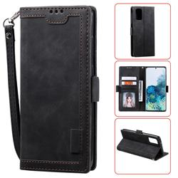 Luxury Retro Stitching Leather Wallet Phone Case for Samsung Galaxy S20 Plus / S11 - Black