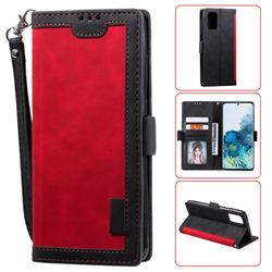 Luxury Retro Stitching Leather Wallet Phone Case for Samsung Galaxy S20 Plus / S11 - Deep Red
