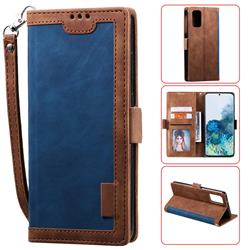 Luxury Retro Stitching Leather Wallet Phone Case for Samsung Galaxy S20 Plus / S11 - Dark Blue