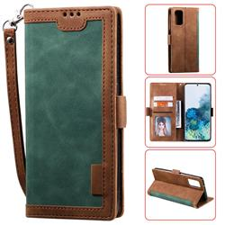 Luxury Retro Stitching Leather Wallet Phone Case for Samsung Galaxy S20 Plus / S11 - Dark Green