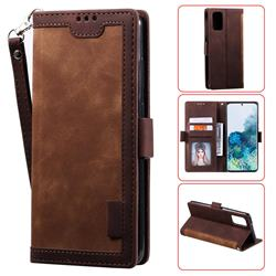 Luxury Retro Stitching Leather Wallet Phone Case for Samsung Galaxy S20 Plus / S11 - Dark Brown