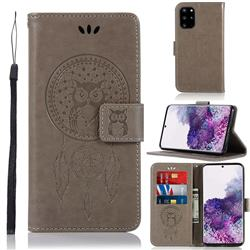 Intricate Embossing Owl Campanula Leather Wallet Case for Samsung Galaxy S20 Plus / S11 - Grey