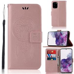 Intricate Embossing Owl Campanula Leather Wallet Case for Samsung Galaxy S20 Plus / S11 - Rose Gold