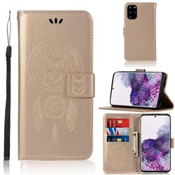 Intricate Embossing Owl Campanula Leather Wallet Case for Samsung Galaxy S20 Plus / S11 - Champagne