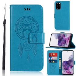 Intricate Embossing Owl Campanula Leather Wallet Case for Samsung Galaxy S20 Plus / S11 - Blue
