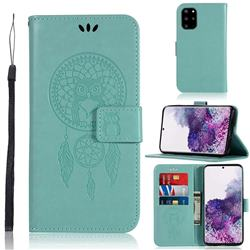 Intricate Embossing Owl Campanula Leather Wallet Case for Samsung Galaxy S20 Plus / S11 - Green