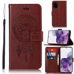 Intricate Embossing Owl Campanula Leather Wallet Case for Samsung Galaxy S20 Plus / S11 - Brown