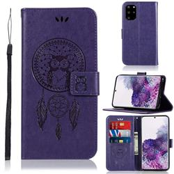 Intricate Embossing Owl Campanula Leather Wallet Case for Samsung Galaxy S20 Plus / S11 - Purple
