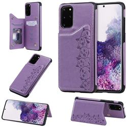 Yikatu Luxury Cute Cats Multifunction Magnetic Card Slots Stand Leather Back Cover for Samsung Galaxy S20 Plus / S11 - Purple