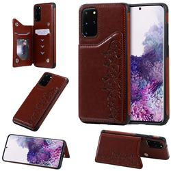 Yikatu Luxury Cute Cats Multifunction Magnetic Card Slots Stand Leather Back Cover for Samsung Galaxy S20 Plus / S11 - Brown