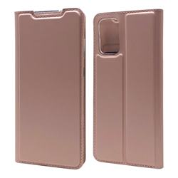 Ultra Slim Card Magnetic Automatic Suction Leather Wallet Case for Samsung Galaxy S20 Plus / S11 - Rose Gold