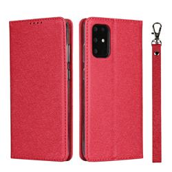 Ultra Slim Magnetic Automatic Suction Silk Lanyard Leather Flip Cover for Samsung Galaxy S20 Plus / S11 - Red