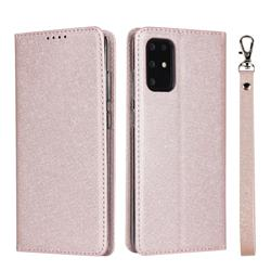 Ultra Slim Magnetic Automatic Suction Silk Lanyard Leather Flip Cover for Samsung Galaxy S20 Plus / S11 - Rose Gold