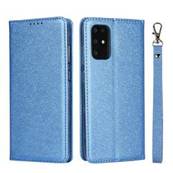 Ultra Slim Magnetic Automatic Suction Silk Lanyard Leather Flip Cover for Samsung Galaxy S20 Plus / S11 - Sky Blue