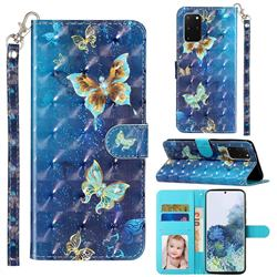 Rankine Butterfly 3D Leather Phone Holster Wallet Case for Samsung Galaxy S20 Plus / S11