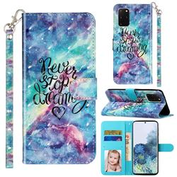 Blue Starry Sky 3D Leather Phone Holster Wallet Case for Samsung Galaxy S20 Plus / S11