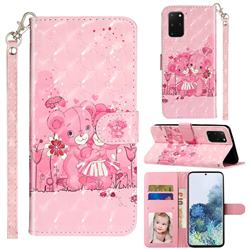 Pink Bear 3D Leather Phone Holster Wallet Case for Samsung Galaxy S20 Plus / S11
