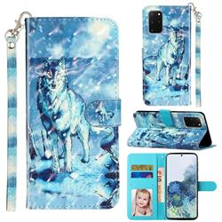 Snow Wolf 3D Leather Phone Holster Wallet Case for Samsung Galaxy S20 Plus / S11