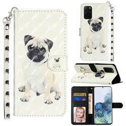 Pug Dog 3D Leather Phone Holster Wallet Case for Samsung Galaxy S20 Plus / S11