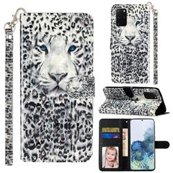 White Leopard 3D Leather Phone Holster Wallet Case for Samsung Galaxy S20 Plus / S11