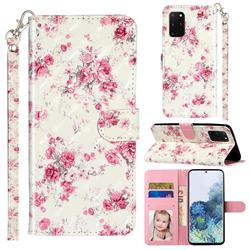 Rambler Rose Flower 3D Leather Phone Holster Wallet Case for Samsung Galaxy S20 Plus / S11